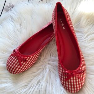 NWOT! Bijou red gingham bow ballet flats size 10W